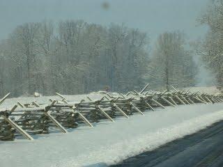 Snow on Gettysburg Battlefield