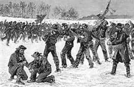 A snowball battle during the Civil War